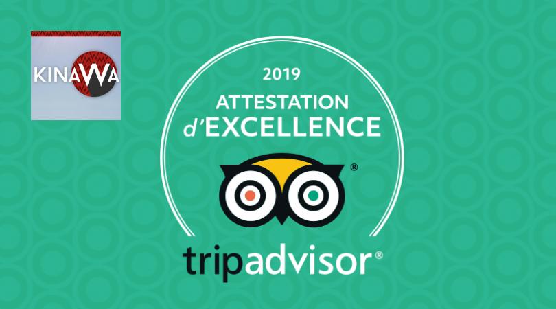 Attestation d'excellence TripAdvisor décernée au Kinawa en 2019
