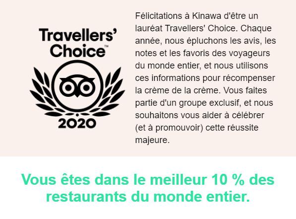 Kinawa dans le top 10% des meilleurs restaurants